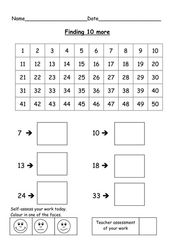 Finding 10 more or less of numbers to 50 by ruthbentham Teaching Resources Tes