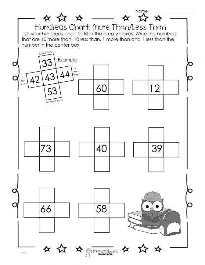 Hundreds Chart Worksheet 10 More Than10 Less Than Squarehead Owl Sti More And Less Worksheets Kindergarten