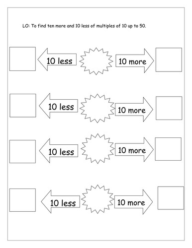 10 more and 10 less Differentiated by Laurenstuart Teaching Resources Tes