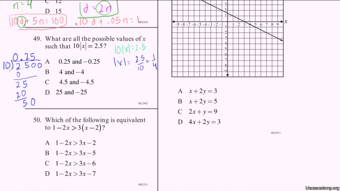 Cahsee Practice Problems 1 3 Video Khan Academy 10th Grade Sat Math Prep Worksheets Eng2aj Sat