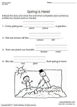 thumbnail of the reading readiness worksheet Spring is Here