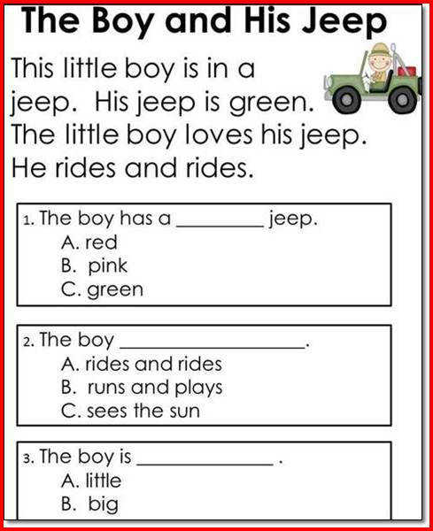 Reading prehension Worksheet 1st Grade