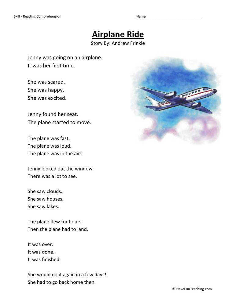 Airplane Ride – Reading prehension Worksheet