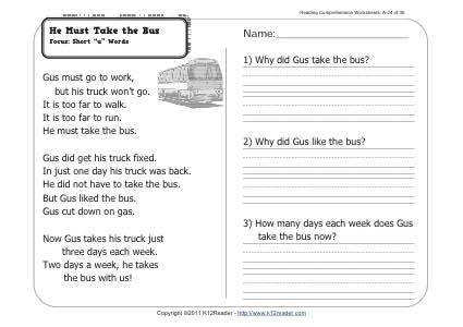 About this Worksheet Week 24 Reading prehension
