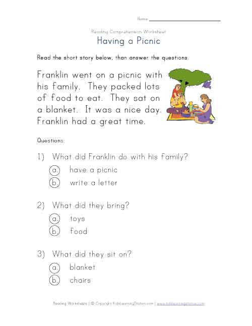 reading prehension worksheet having a picnic