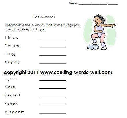 Get in Shape first grade language arts worksheet