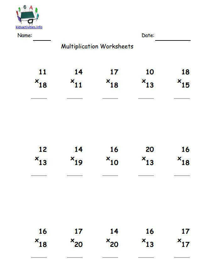 2 digit multiplication worksheet up to 20