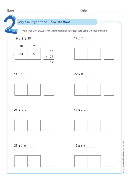 box multiplication partial products method 2 digit by 1 digit worksheet