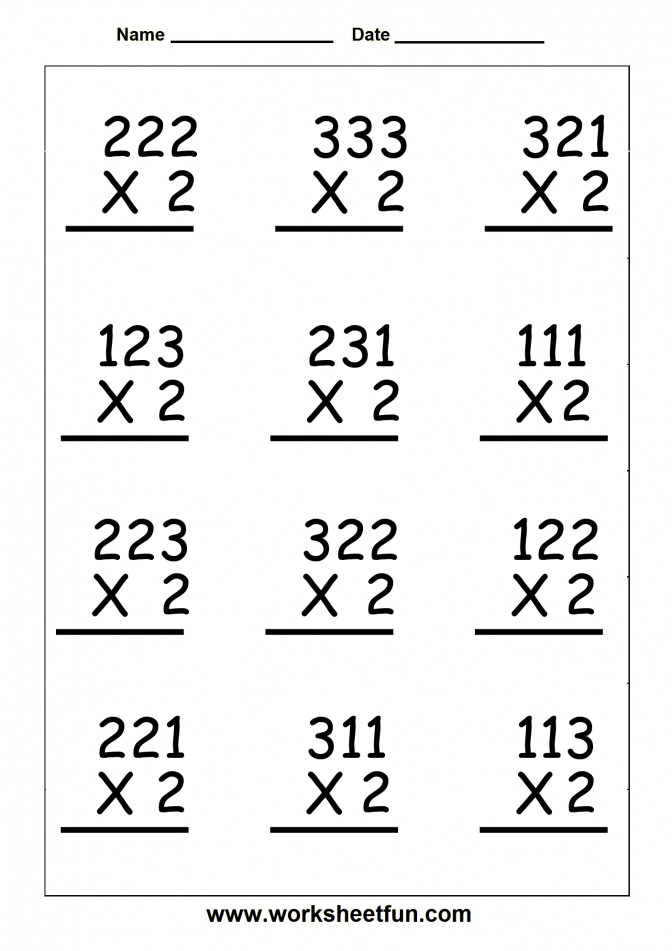 Copy Single Digit Multiplication Worksheets Lessons Tes Teach 0 12 Vertical 3 Worksh Free Single