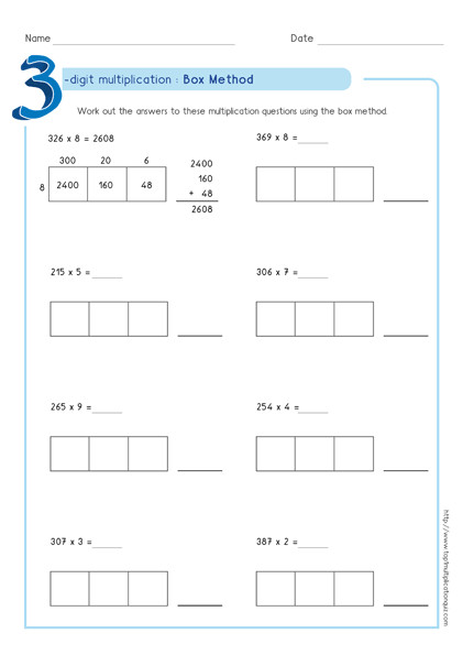 box multiplication partial products method 3 digit by 1 digit worksheet2