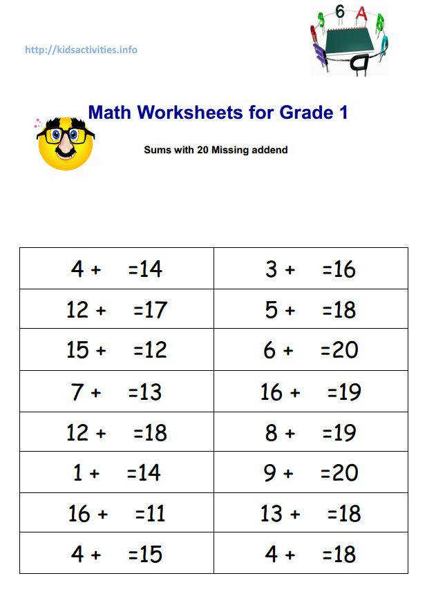 Math Worksheets for Grade 1 sums with 20 Missing addend pdf