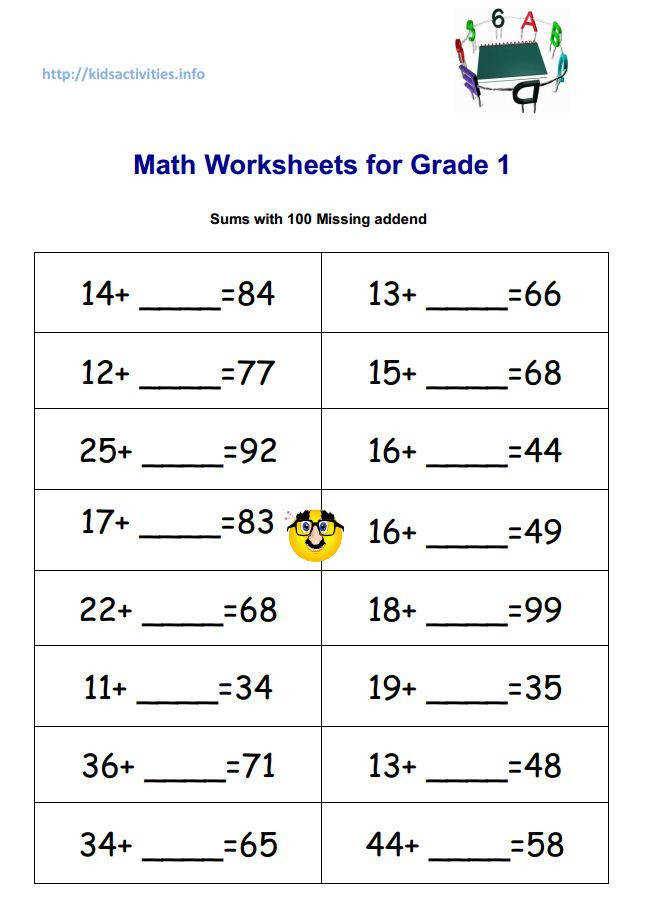Math Worksheets for Grade 1 sums with 100 Missing Addend Pdf