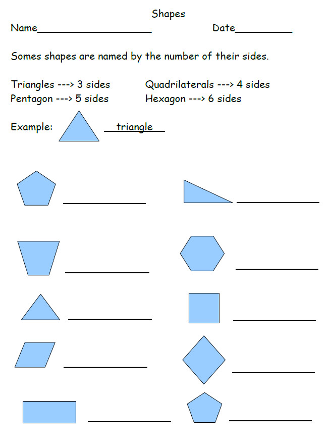 Free Shapes Worksheet 2nd Grade