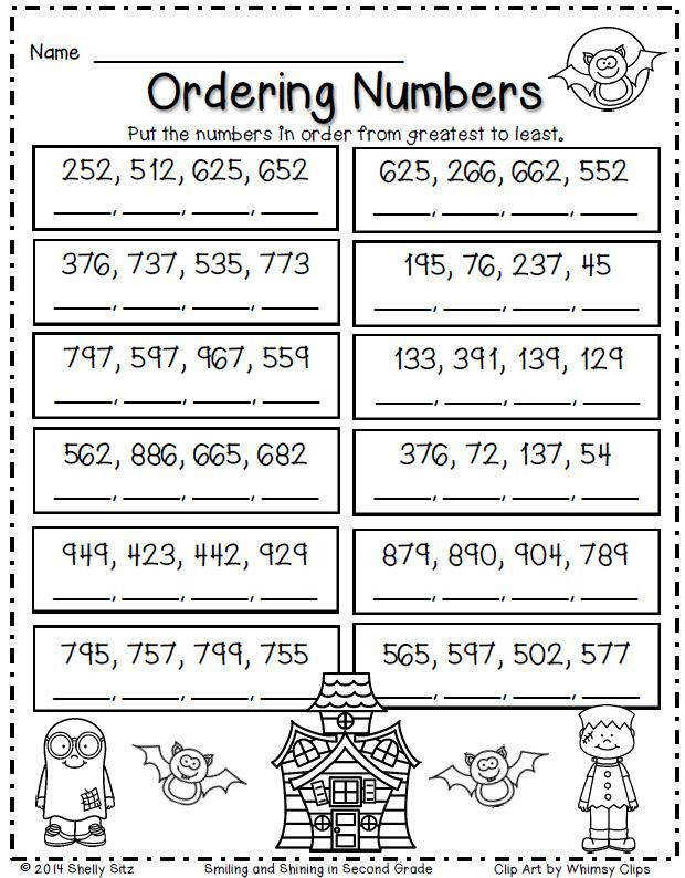 Halloween Math for second grade ordering numbers FREE math worksheets for