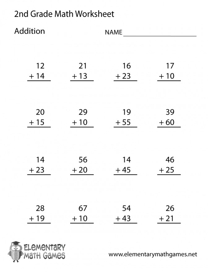 Second Grade Addition Worksheet Fun Math Worksheets For 2nd Free Prin Math Worksheets For 2nd Grade