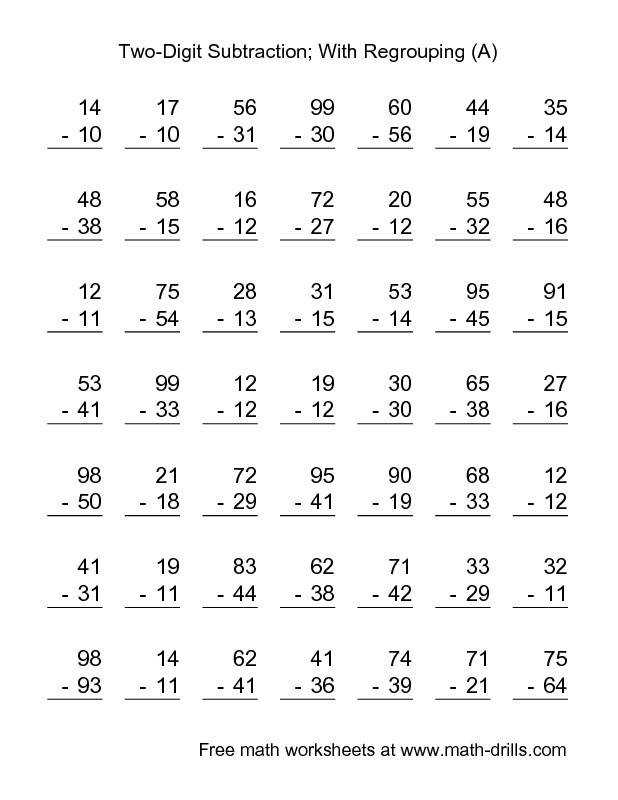 Subtraction Worksheet Two Digit Subtraction with Some Regrouping 49 Questions