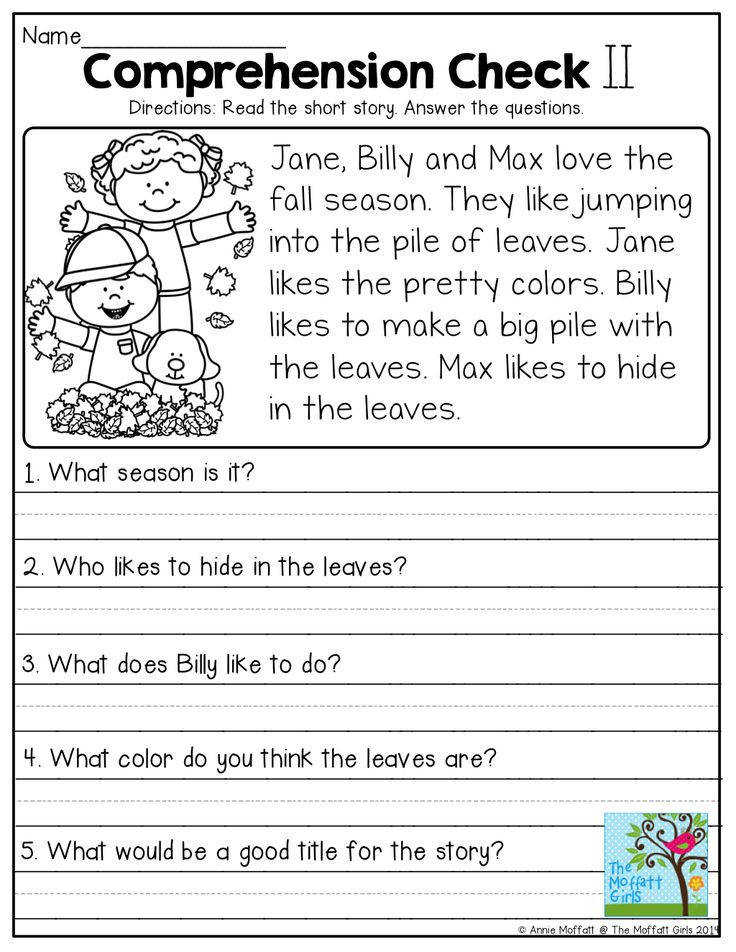 Read the simple story and answer the prehension questions Tons of great printables to help with grade level skills