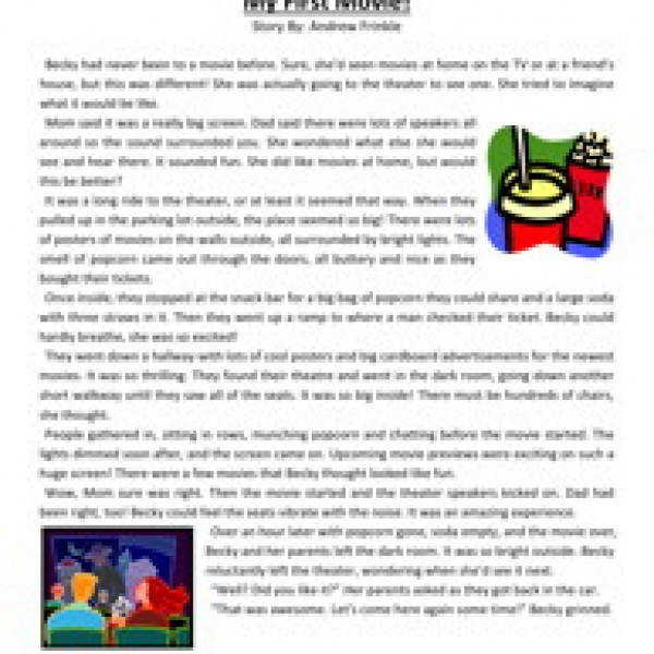 my first movie third grade reading prehension worksheet