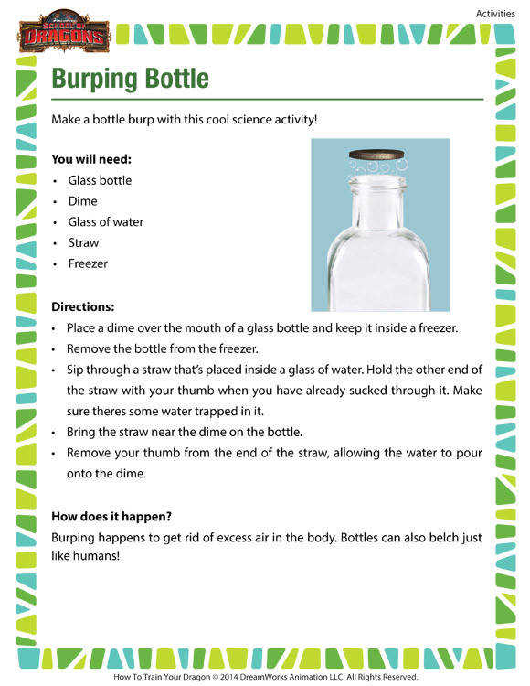 Burping Bottle Printable Science Activity for 2nd Grade