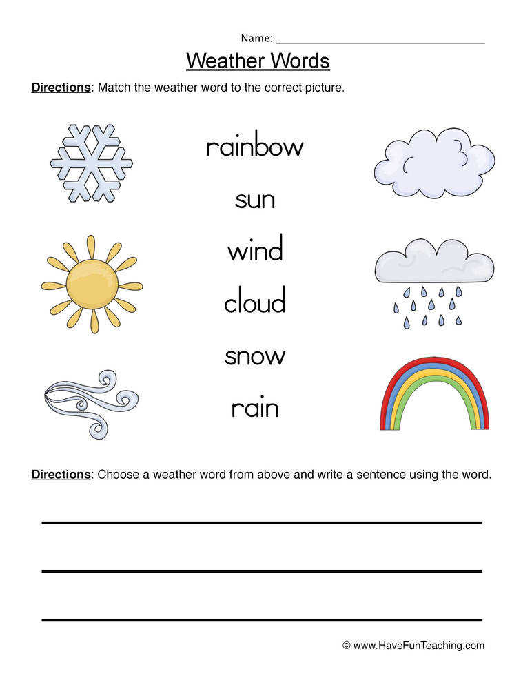 Printables Science Weather Worksheets 2nd grade science worksheets on weather intrepidpath words worksheet 1 matching