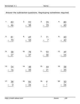 Subtraction With Regrouping Worksheets to Use in the Classroom 2nd Grade