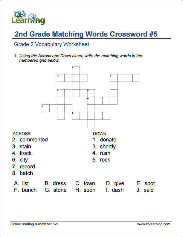 2nd grade matching words crossword