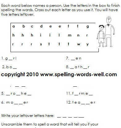 second grade worksheet people puzzler