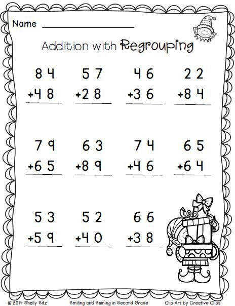 2nd Grade Math Worksheets Pics 2nd Grade Math Worksheets Christmas Addition With Regrouping