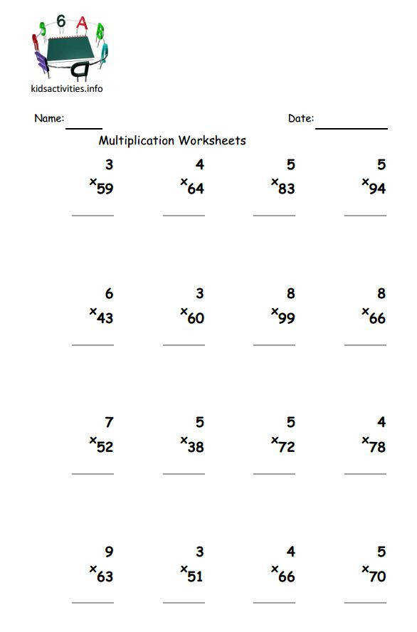 1 2 digit multiplication worksheet up to 99