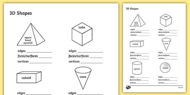 3D Shapes Activity Sheet