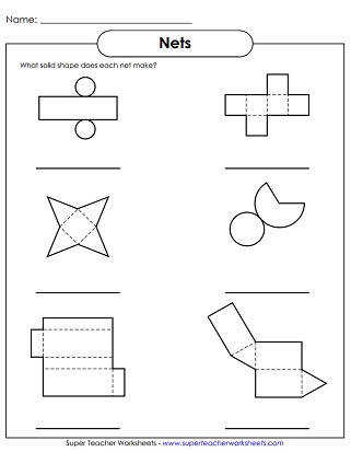 Solid Shapes Worksheet Nets