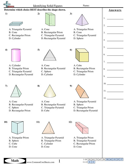 Identifying Solid Figures worksheet Identifying Solid Figures worksheet Identifying Solid Shapes