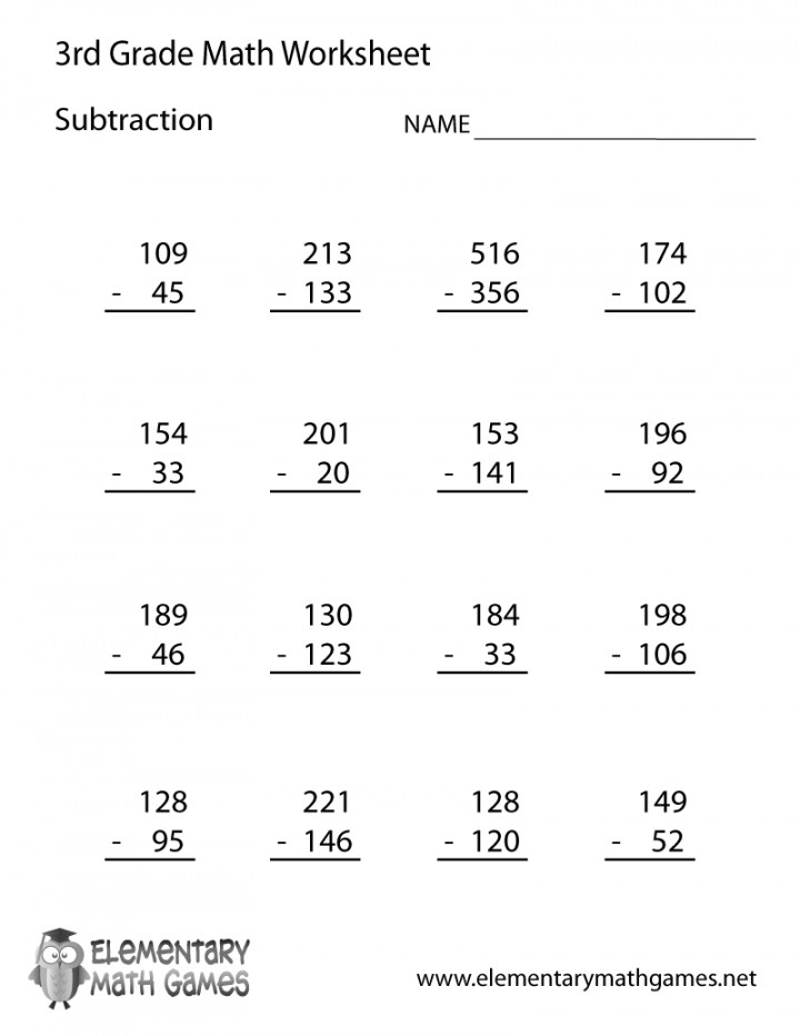 3rd Grade Subtraction Worksheet Printable Multiplication And Division Worksheets Third Math Word Problems Pdf Mixed 720