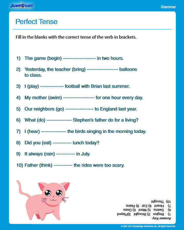 Perfect Tense Free English Worksheet for 3rd Grade