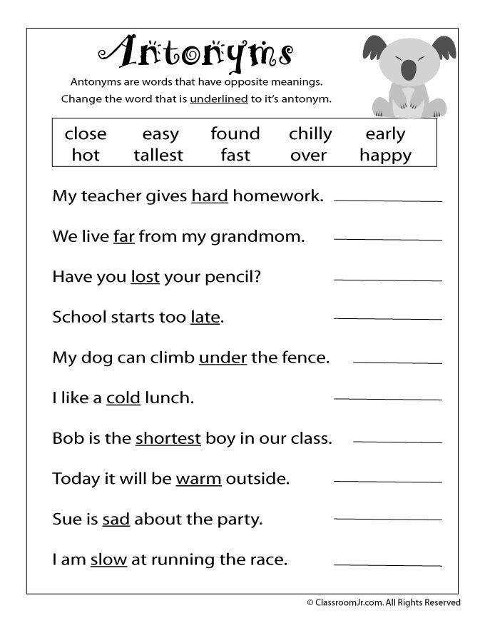 Reading Worksheets Antonyms and Synonyms antonym worksheet – Classroom Jr 2nd grade