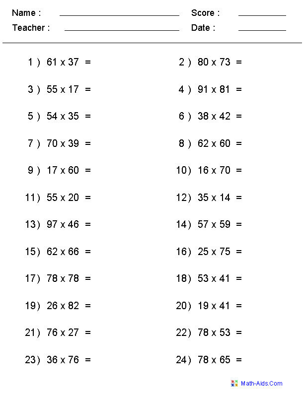 Math multiplication worksheets