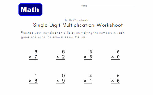 Practice basic multiplication of single digit numbers Four Operations Practice Worksheet