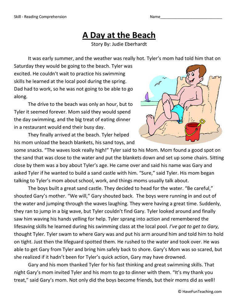 A Day at the Beach – Reading prehension Worksheet
