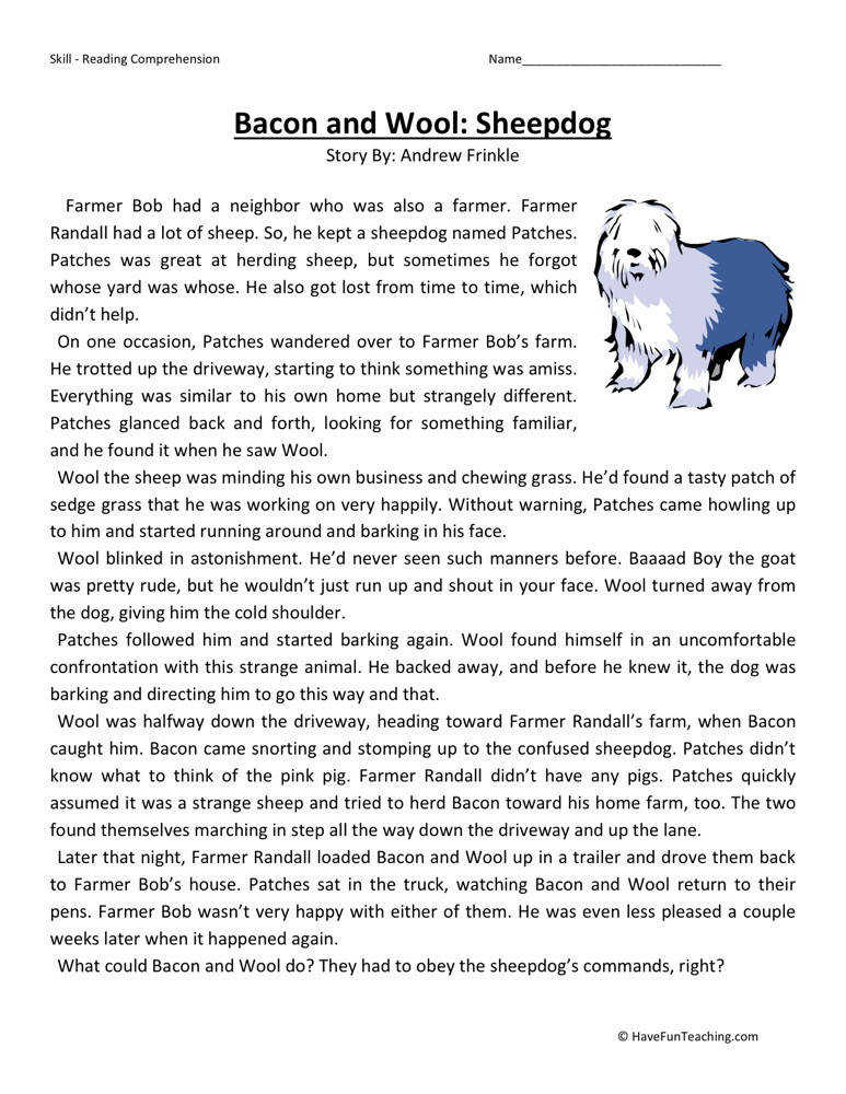 free bacon and wool sheepdog third grade reading prehension worksheet