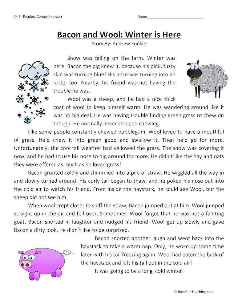 Bacon and Wool Winter is Here Reading prehension Worksheet