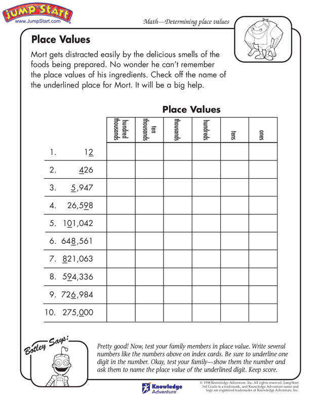 """Place Values"" – 3rd Grade Math Worksheets for Kids on Place Value JumpStart"