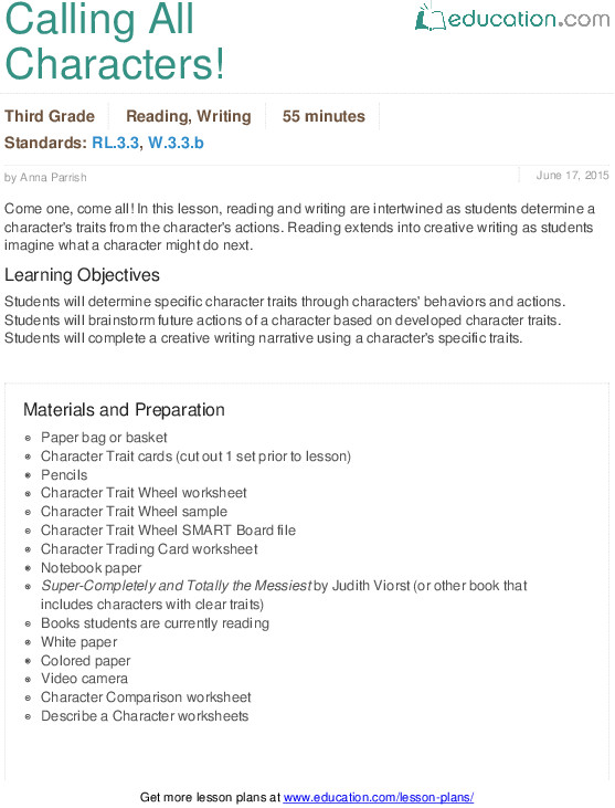 3rd Grade Reading & Writing Lesson Plan Calling All Characters