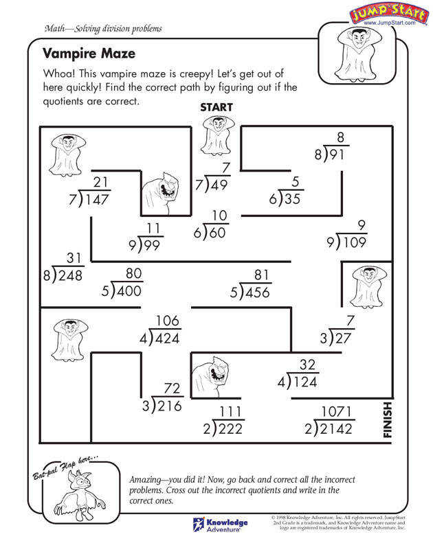 Vampire Maze – 4th Grade Math Worksheet for Division JumpStart