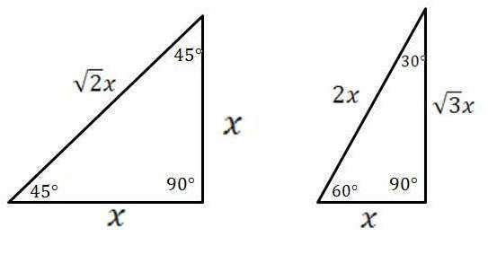 Special Right Triangles 30 60 90 and 45 45 90 Degrees Right Triangles