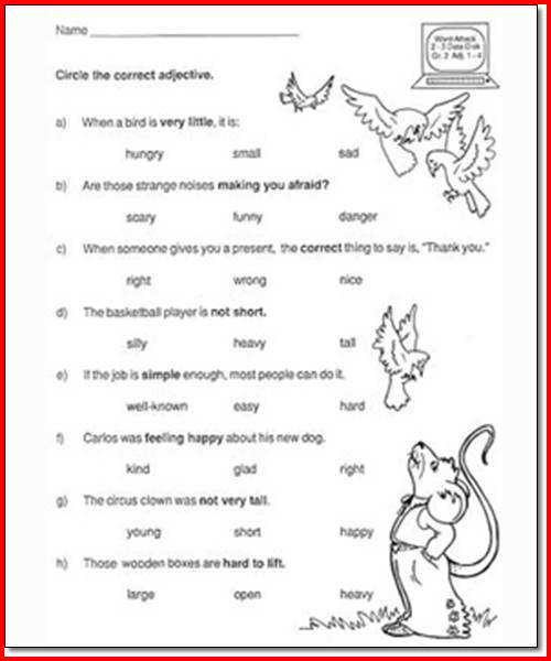 Free Second Grade Worksheets for English Reading and Science