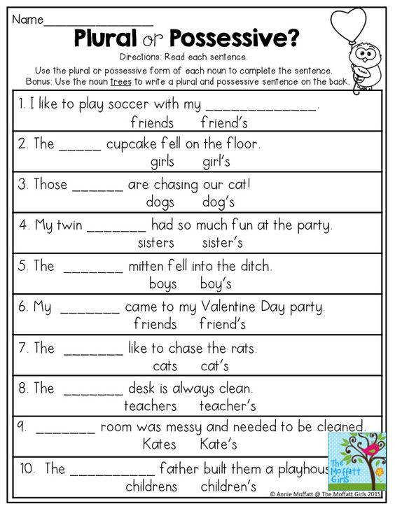 Teach Your Child to Read Plural or Possessive Use the plural or possessive form of each noun to plete the sentence Great grammar exercise for grade