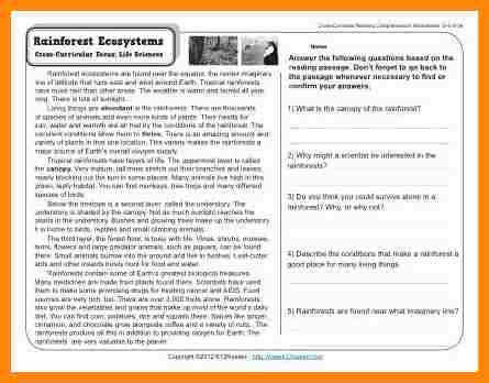reading worksheets 4th grade Gr4 Wk5 Rainforest Ecosystems