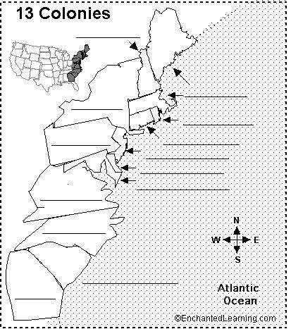 Blank 13 Colonies Map Worksheet