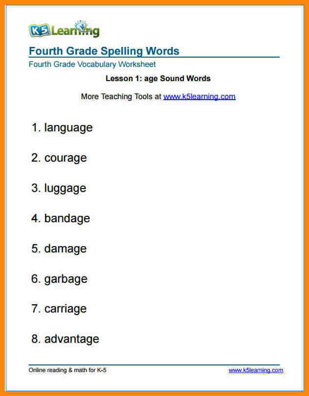 5 4th grade spelling worksheets