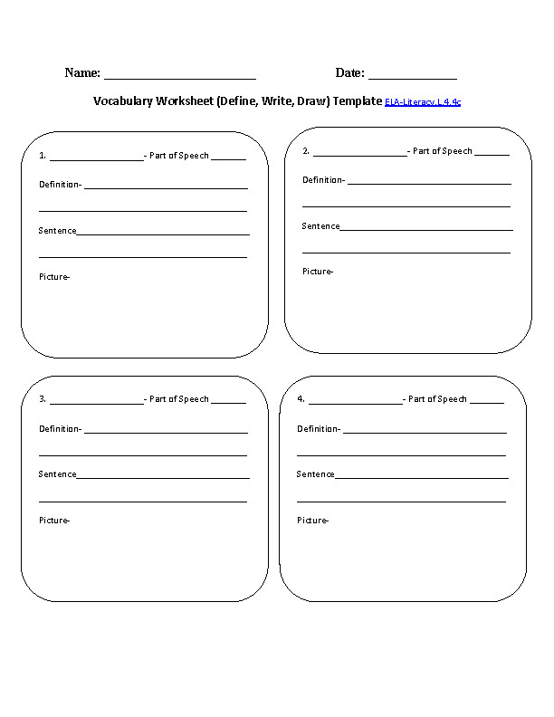 Vocabulary Worksheet Template ELA Literacy L 4 4c Language Worksheet